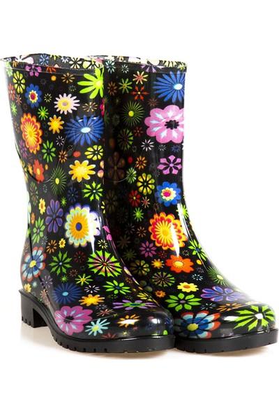 Ayakkabı Çarşı Siyah Çiçek Desenli Uzun Kadın Çizme CNRUÇ176