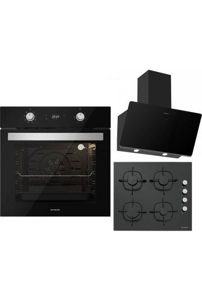 Silverline Siyah Ankastre Set :soho Siyah 60 cm Davlumbaz , CS5335B01 Siyah Ankastre Ocak , BO6504B01 Siyah Ankastre Fırın