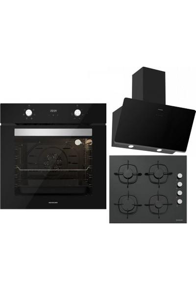 Silverline Siyah Ankastre Set :soho Siyah 60 cm Cam Davlumbaz , CS5335B01 Siyah Ankastre Cam Ocak , B06502B01 Siyah Ankastre Fırın