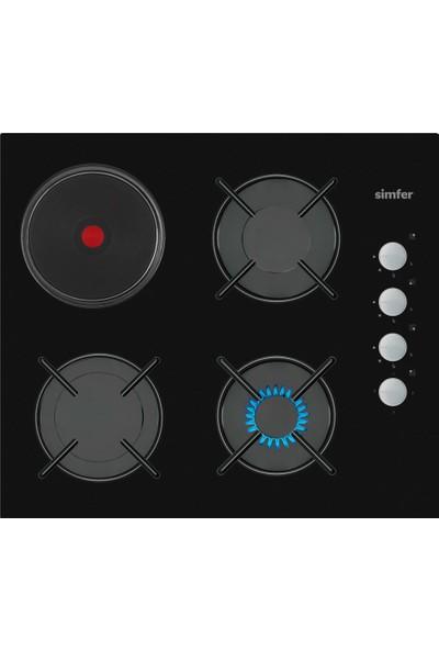 Simfer 3506 3g+1hp Siyah Cam Ankastre Ocak