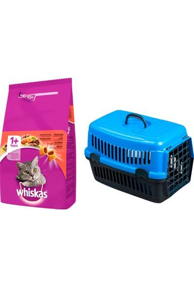 Whiskas Adult Yetişkin Sığır Etli Beef Kedi Maması 1,4 kg + Pet Style Taşıma Çantası 49 cm Mavi