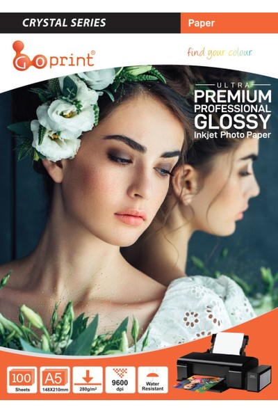 Goprint Crystal Serisi Parlak A5 15 x 21 cm Fotoğraf Kağıdı 280 gr 100 Yaprak