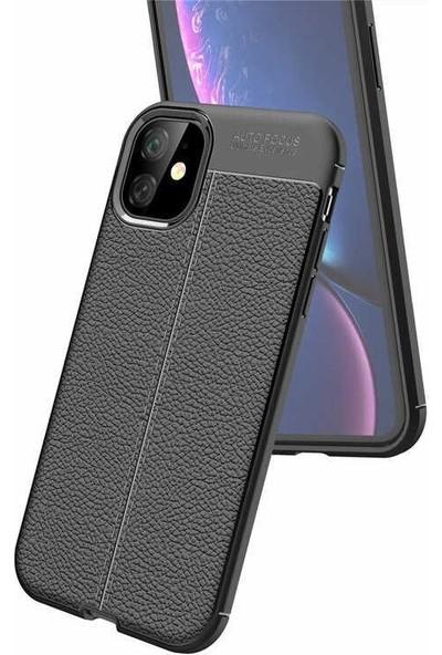 Gpack Apple iPhone 11 Pro Max Kılıf Niss Silikon Deri Görünümlü + Nano Ekran Koruyucu + Kalem Siyah