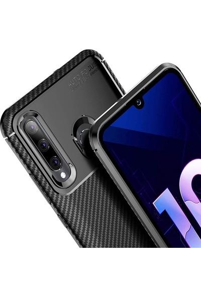 Gpack Huawei Honor 20 Lite Kılıf Negro Karbon Dizayn Silikon + Nano Ekran Koruyucu + Kalem Kahverengi