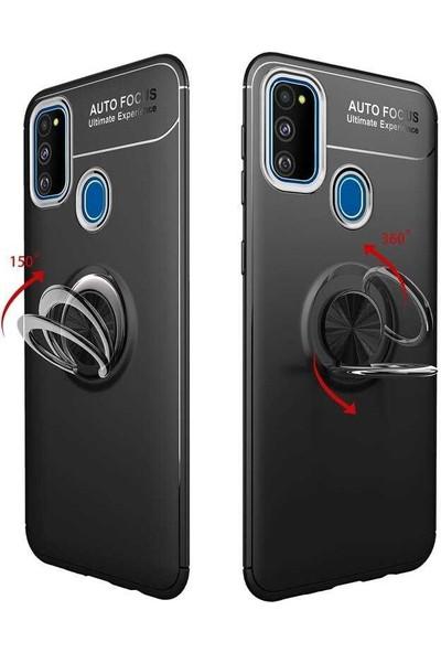 Gpack Samsung Galaxy M30s Kılıf Ravel Yüzüklü Mıknatıslı Silikon + Nano Ekran Koruyucu + Kalem Bordo