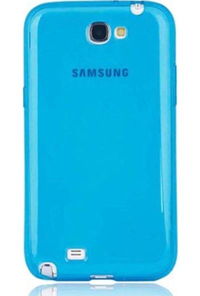 Gpack Samsung Galaxy Note 2 Kılıf 02 mm Silikon + Nano Ekran Koruyucu + Kalem Mavi