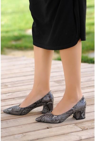 Pembe Potin Gri Yılan Kadın Topuklu Ayakkabı