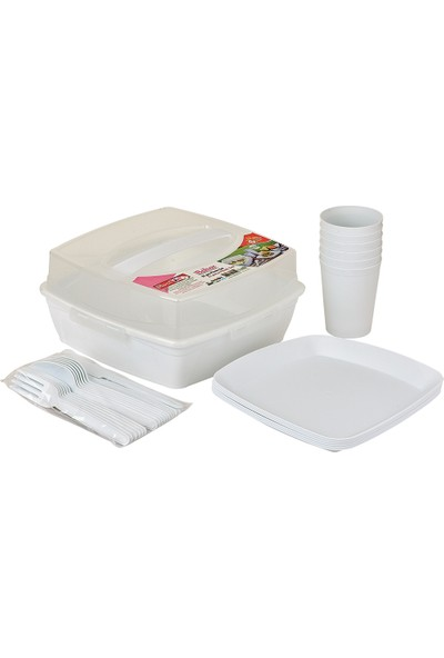 Moniev Piknik Seti 32'li Taşıma Çantalı Beyaz