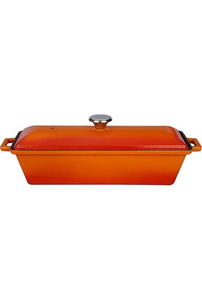 Lava Döküm Ekmek Kabı 11 x 29 cm -Turuncu