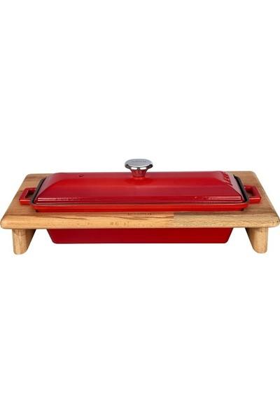 Lava Döküm Ekmek Kabı Standı - Kırmızı