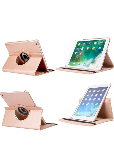 "EssLeena Apple Powers Kılıf Seti iPad 2.Nesil (2011) 9.7"" 360 Derece Dönerli Standlı Tablet Kılıfı+Ekran Koruyucu Film+Kalem (A1395/A1396/A1397) - Gri"