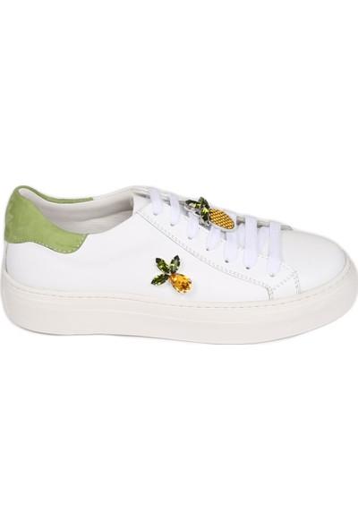 Butigma Ananas Temalı Yeşil Süet Detaylı Beyaz Deri Sneakers - Kadın