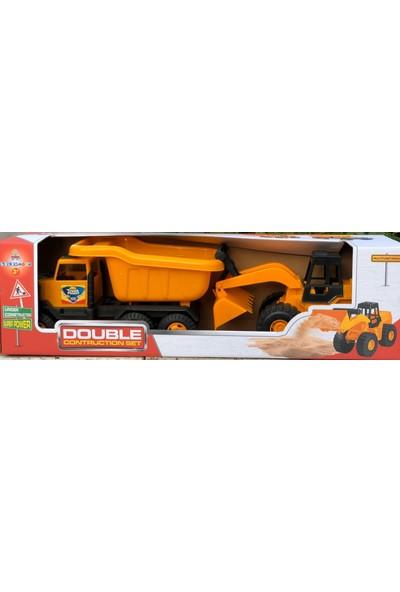 Güçlü Toys Güçlü Ikili Inşaat Seti Kutulu Kamyon ve Kepçe Dozer Oyun Seti