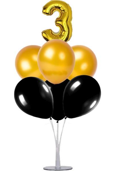 Kidspartim 7 'li Balon Stand Demeti 3 Yaş Gold Siyah Balon