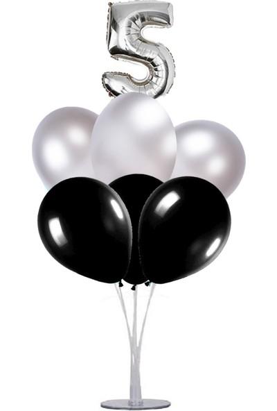 Kidspartim 7 'li Balon Stand Demeti 5 Yaş Gümüş Siyah Balon