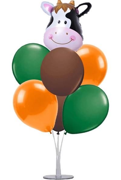 Kidspartim 7 'li Balon Stand Demeti Ä°nek Safari Temalı Balon