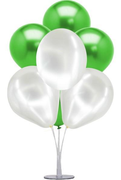 Kidspartim 7 'li Balon Demeti Metalik Yeşil Beyaz Balon