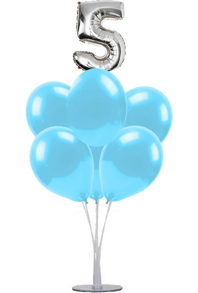 Kidspartim 7 'li Balon Stand Demeti 5 Gümüş Mavi Balon