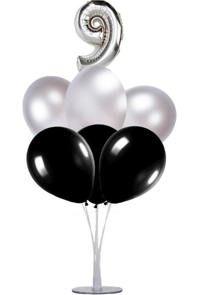 Kidspartim 7 'li Balon Stand Demeti 9 Yaş Gümüş Siyah Balon