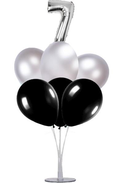Kidspartim 7 'li Balon Stand Demeti 7 Yaş Gümüş Siyah Balon