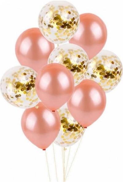 Kidspartim 10 'lu Rose Gold Balon Gold Konfetili Set