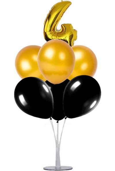 Kidspartim 7'li Balon Stand Demeti 4 Yaş Gold Siyah Balon