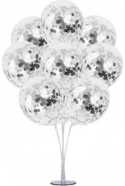Kidspartim 7 'li Balon Stand Demeti Gümüş Konfetili Şeffaf Balon