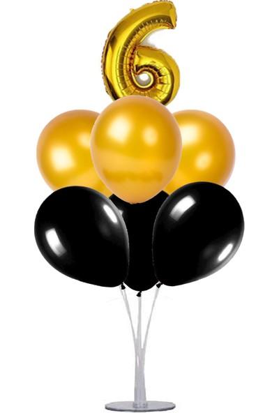 Kidspartim 7 'li Balon Stand Demeti 6 Yaş Gold Siyah Balon