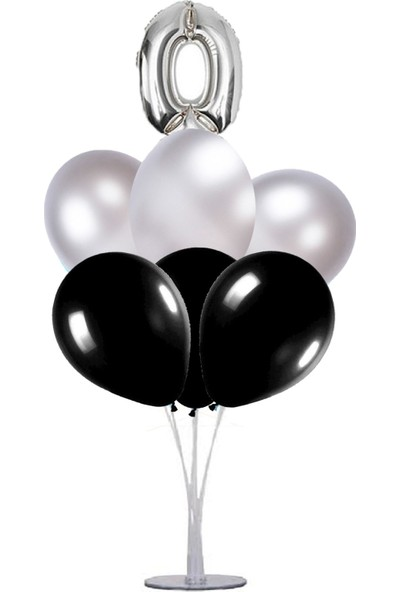 Kidspartim 7 'li Balon Stand Demeti 0 Rakam Gümüş Siyah Balon