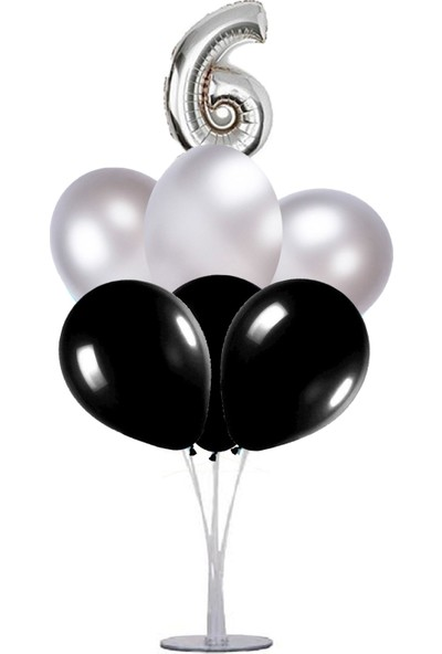 Kidspartim 7 'li Balon Stand Demeti 6 Yaş Gümüş Siyah Balon