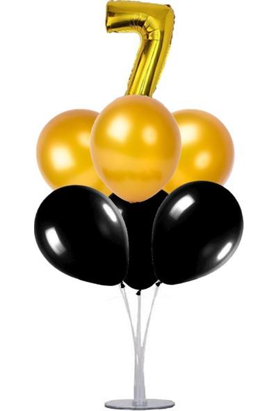 Kidspartim 7 'li Balon Stand Demeti 7 Yaş Gold Siyah Balon