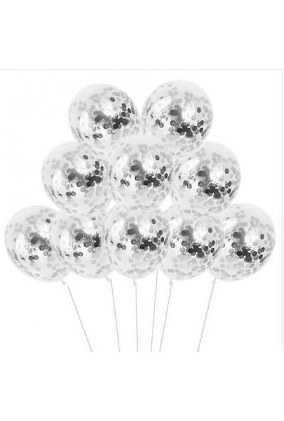 Kidspartim 10 'lu Gümüş Konfetili Şeffaf Balon Seti
