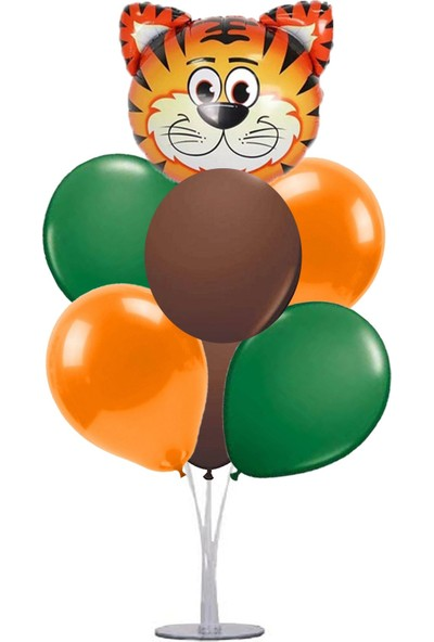 Kidspartim 7 'li Balon Stand Demeti Kaplan Safari Temalı Balon