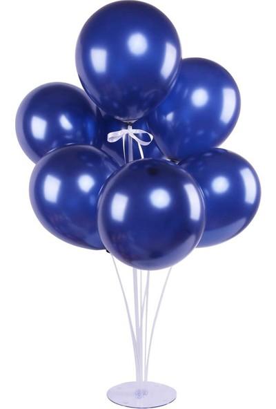 Kidspartim 7 'li Balon Stand Demeti Metalik Lacivert Balon