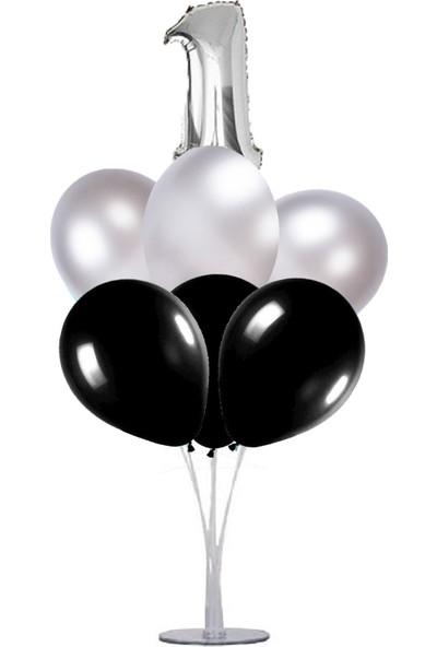 Kidspartim 7 'li Balon Stand Demeti 1 Yaş Gümüş Siyah Balon