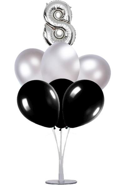 Kidspartim 7 'li Balon Stand Demeti 8 Yaş Gümüş Siyah Balon