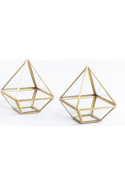 El Crea Designs Geometrik Prizma Teraryum Fanus Mumluk