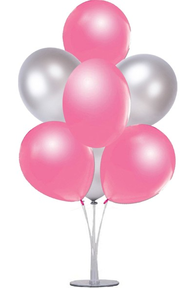 Kidspartim 7 'li Balon Demeti Gümüş Pembe Balon