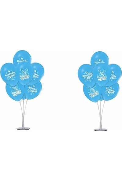 Kidspartim 7 'li Balon Stand Demeti Hoşgeldin Bebeğim Mavi Balon