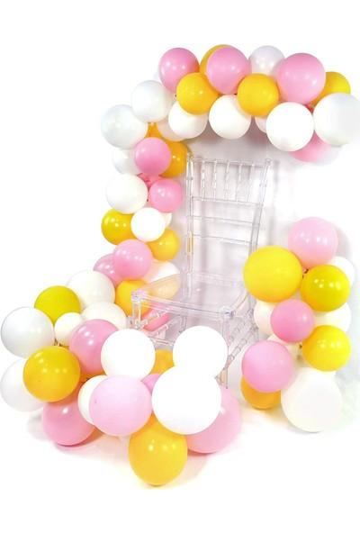 Kidspartim Pembe Sarı Beyaz Balon Zinciri 5 Metre