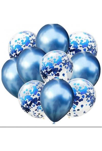 Kidspartim 10 'lu Mavi Konfetili Krom Balon Seti
