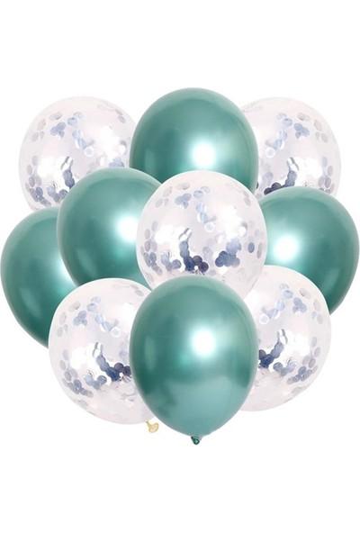 Kidspartim 10 'lu Gümüş Konfetili Yeşil Krom Balon Seti