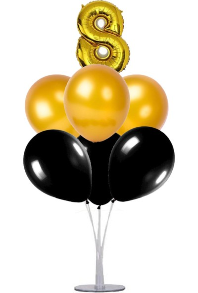 Kidspartim 7 'li Balon Stand Demeti 8 Yaş Gold Siyah Balon