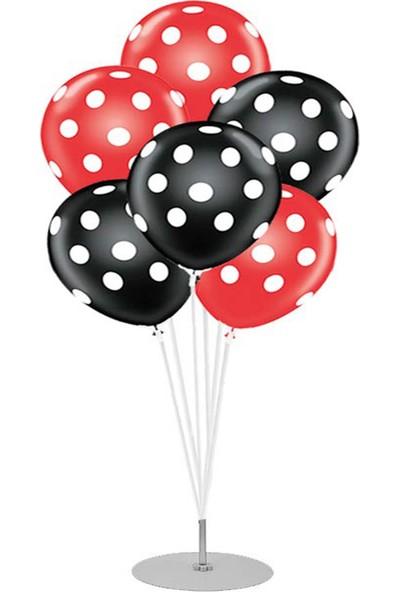 Kidspartim 7 'li Balon Stand Demeti Kırmızı Siyah Puantiyeli