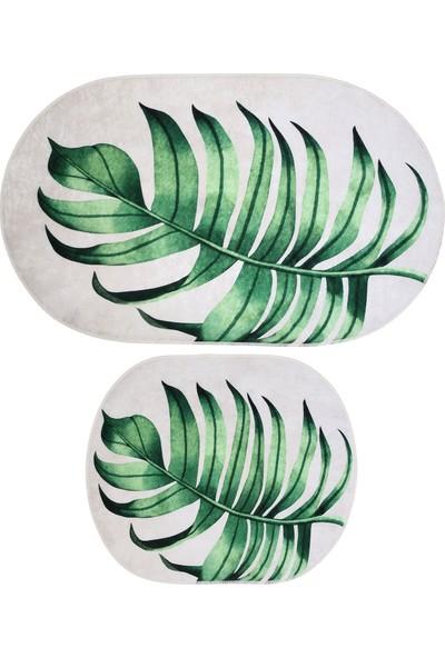 Soley Monstera 2'li Dekoratif Banyo Paspas