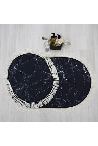 Soley Marble Püsküllü 2'li Dekoratif Banyo Paspas