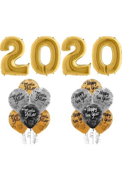 Kikajoy Yılbaşı 2020 Mutlu Yıllar Balon Set Altın