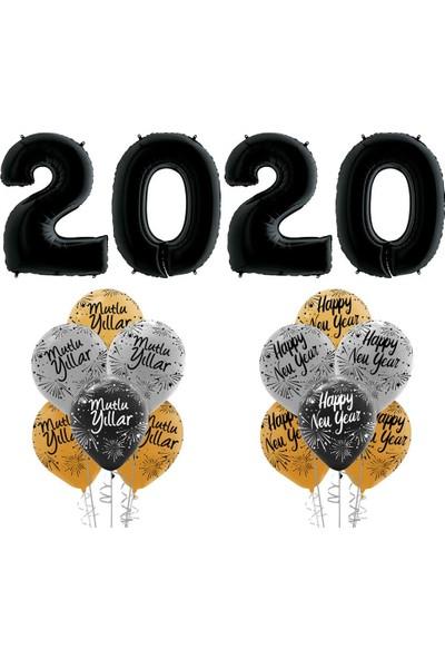 Kikajoy Yılbaşı 2020 Mutlu Yıllar Balon Set Siyah