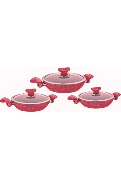 Oms Granit Sahan Set 6 Parça Kırmızı 3004