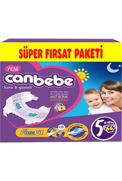 Canbebe Bebek Bezi 5 Numara Junior 66 Adet 11-18 kg